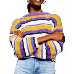 NWT TopShop Purple Yellow Fuzzy Striped Sweater